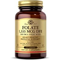 Solgar Folate 1,333 MCG Dietary Folate Equivalent (800 mcg Folic Acid), 250 Tablets - Heart Health, Healthy Nervous System, Prenatal Support - Non-GMO, Vegan, Gluten Free, Dairy Free - 250 Servings