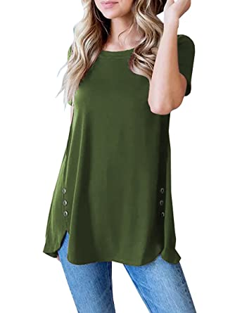802be28e3c02 Karlywindow Womens Casual Tops Side Buttons Short Sleeve Loose Fit Tunic  Shirts Army Green