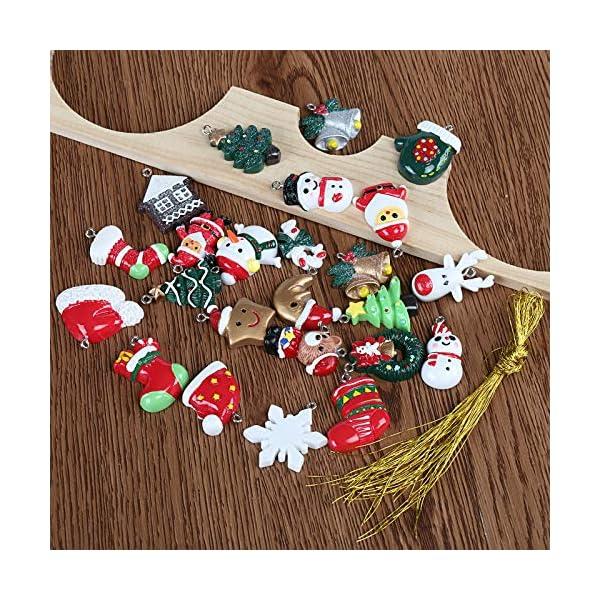 Naler 24pcs Christmas Fascino del Pendente, Fascino della Resina del Pupazzo di Neve dell'alce del Babbo Natale per l'ornamento della Decorazione di Natale DIY Craft 4 spesavip