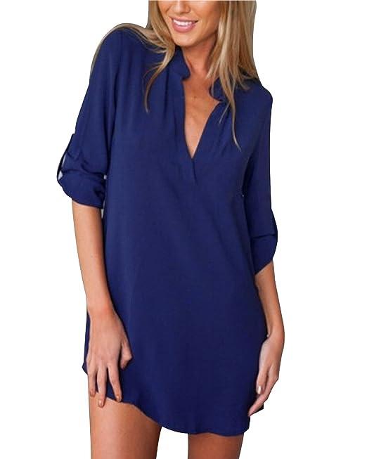 ZANZEA Mujer Camiseta Casual con Manga Larga Cuello V De Gasa Blusa De Tallas Grandes Azul