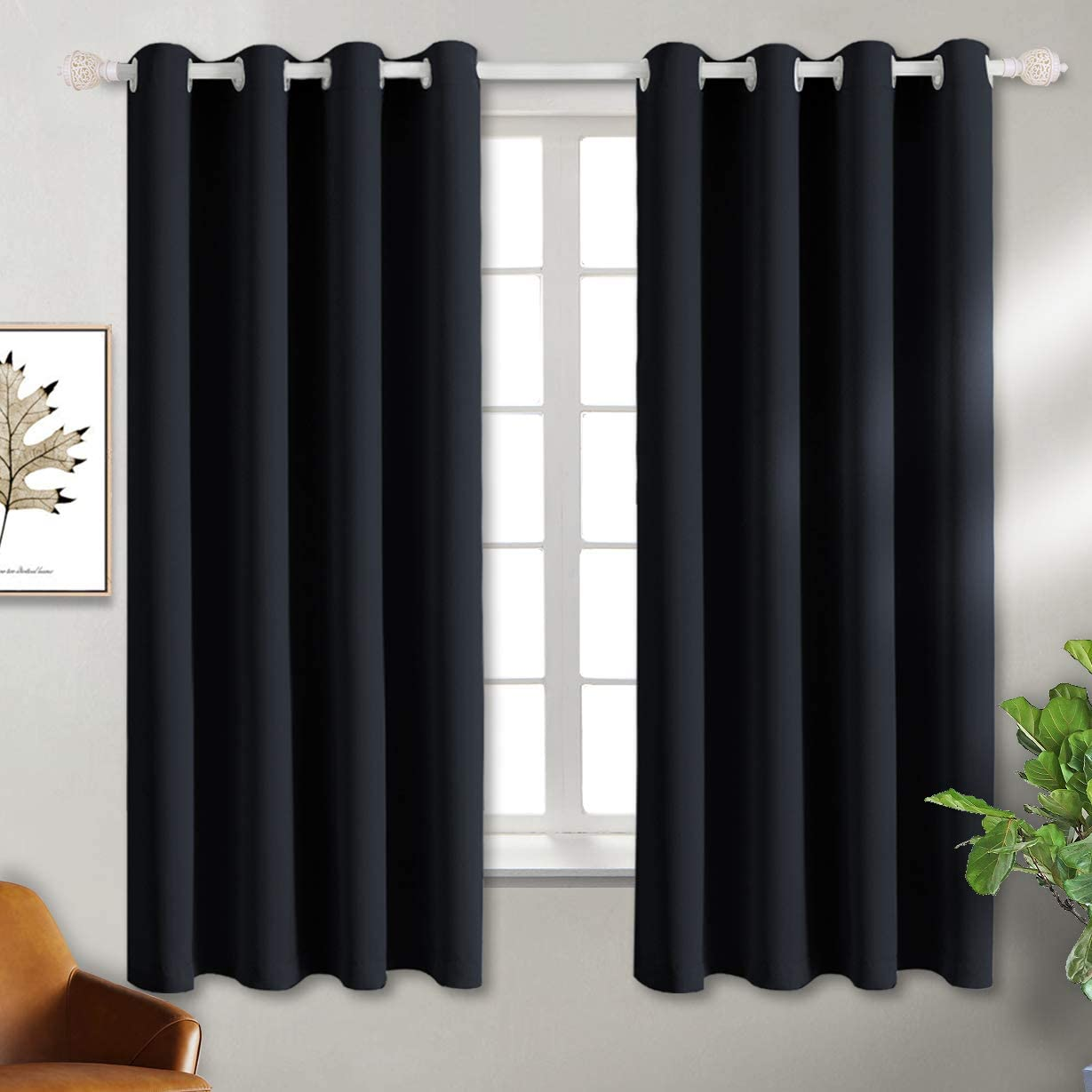 BGment Black Blackout Curtains for Bedroom - Grommet Thermal Insulated Room Darkening Block Out Curtains for Living Room, Set of 2 Panels, 52 x 63 Inch