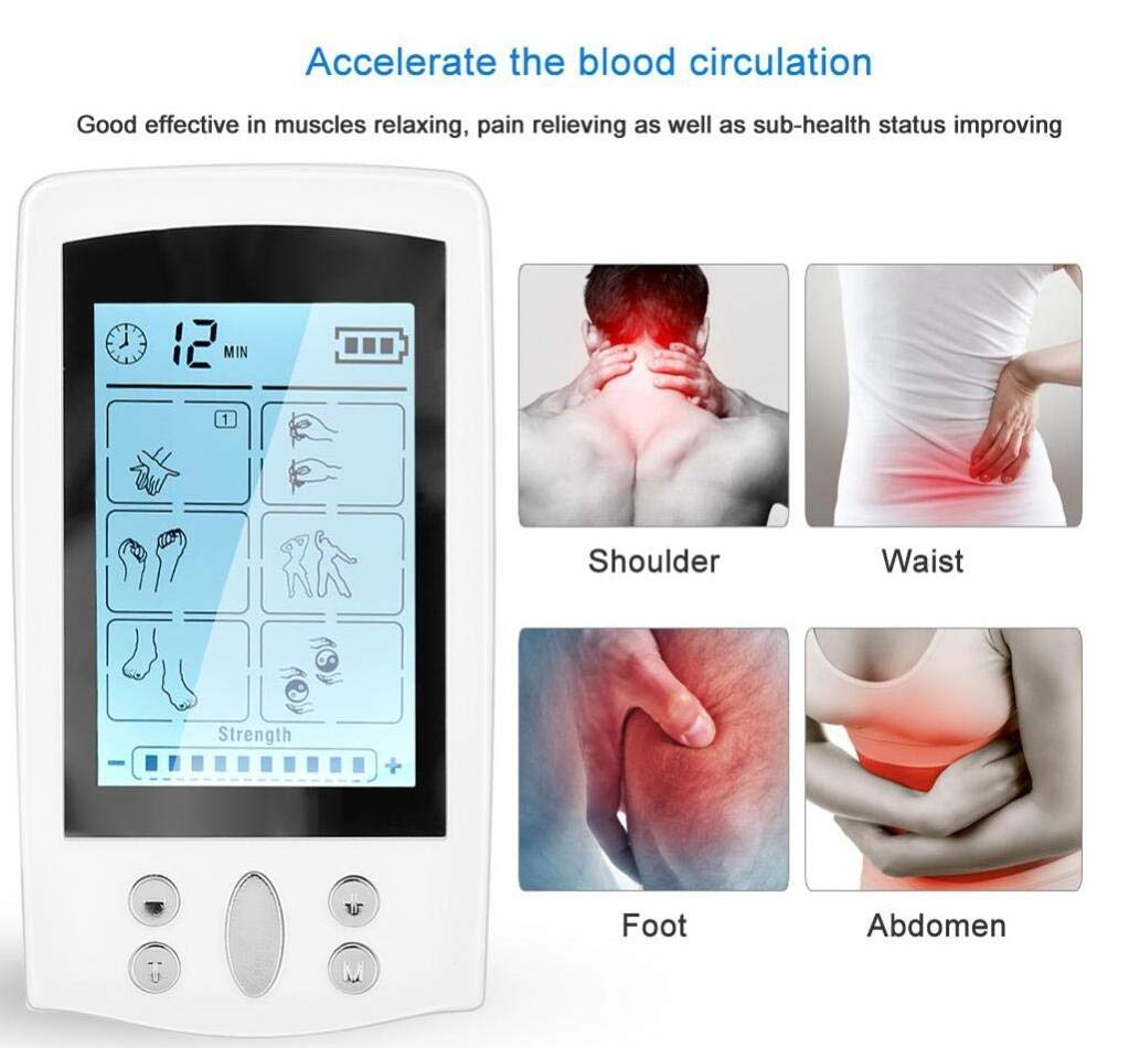 Jiuhuazi Rechargeable Tens EMS Unit with 16 Modes and 8 Pads Pulse Impulse Pain Relief Massager Tens Unit for Pain Management and Rehabilitation with Great for Treating Pain and Muscle Relief