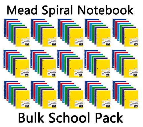 Mead Spiral Notebook, College Ruled, 1 Subject, 70 Sheets, Bulk 96 PACK