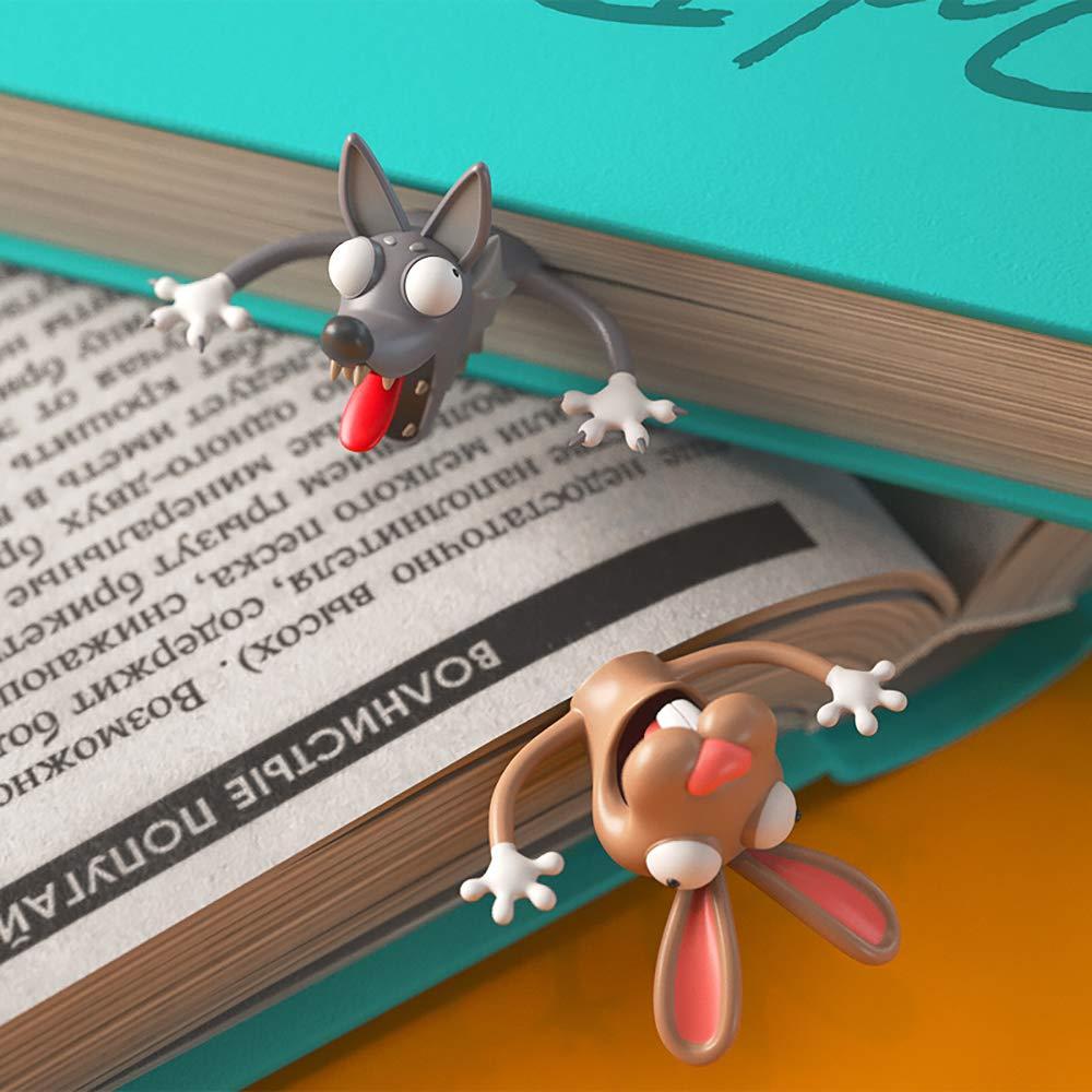 DEDC 1 pz 3D Simpatico Cartone Animato Animale Segnalibro in Materiale PVC Divertente Cancelleria per Bambini a Scuola o Regalo per Studenti Gatto