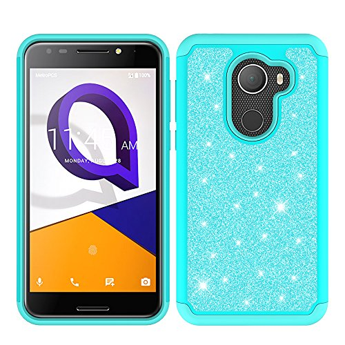 T Mobile REVVL Case, Alcatel A30 Fierce Case, Alcatel Walters Case, Glitter Bling Hybrid Case with [HD Screen Protector] Dual Layer Protective Phone Case Cover for Alcatel A30 Plus - Mint