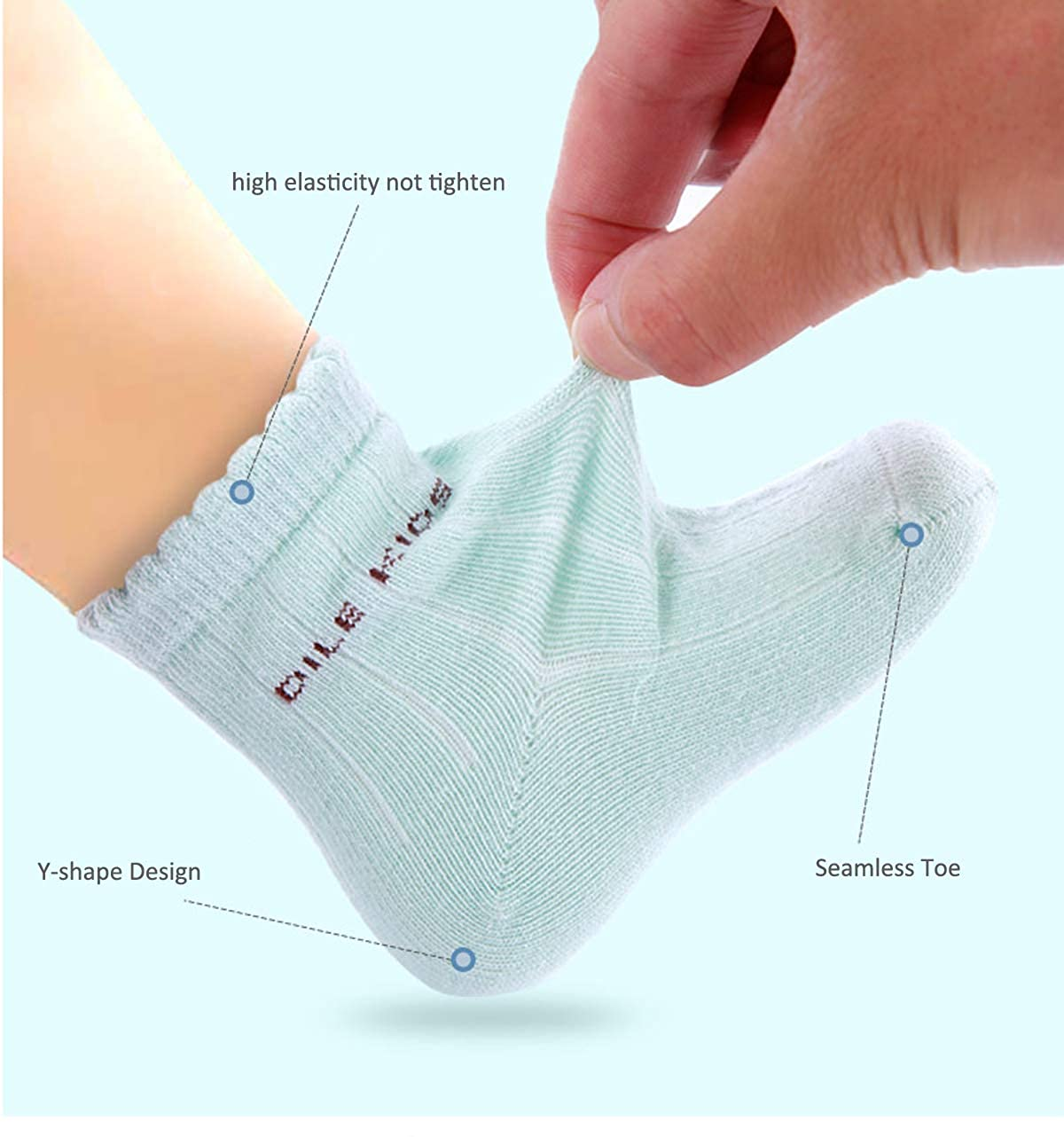 Organic Cotton Baby Socks 6 Pack for Infant and Newborn