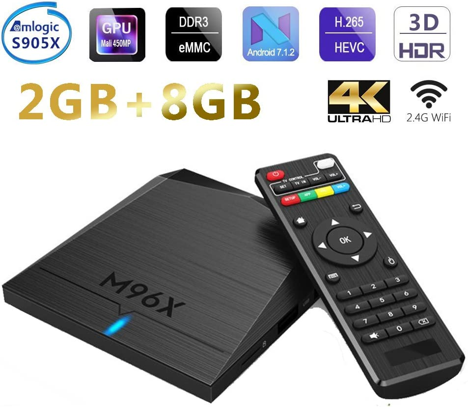 Android 6.0 Smart TV Box 2GB RAM 8GB ROM Amlogic S905X Quad Core 64 Bits CPU Penta-Core GPU HDMI 2.0 4K H.265 WiFi Set Top Box: Amazon.es: Electrónica