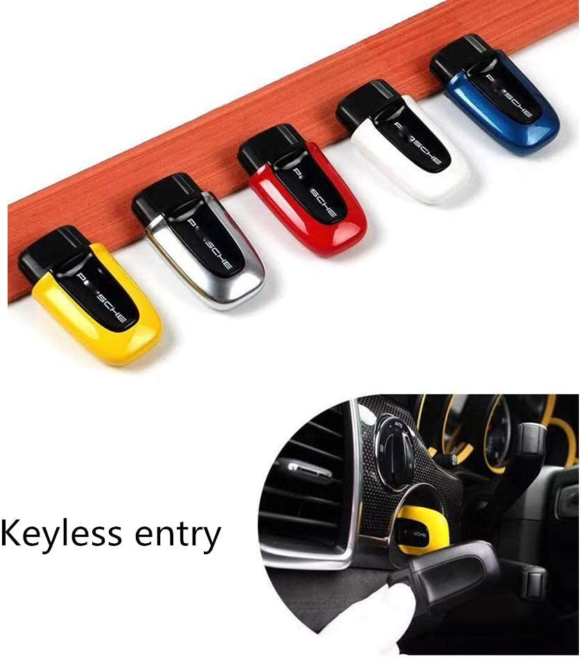 Yellow LIMBQS Start Passive keyless Enter Key Cover case for Porsche Macan Cayenne Panamera Start Stop Button Stickers Entry Box Switch Cover