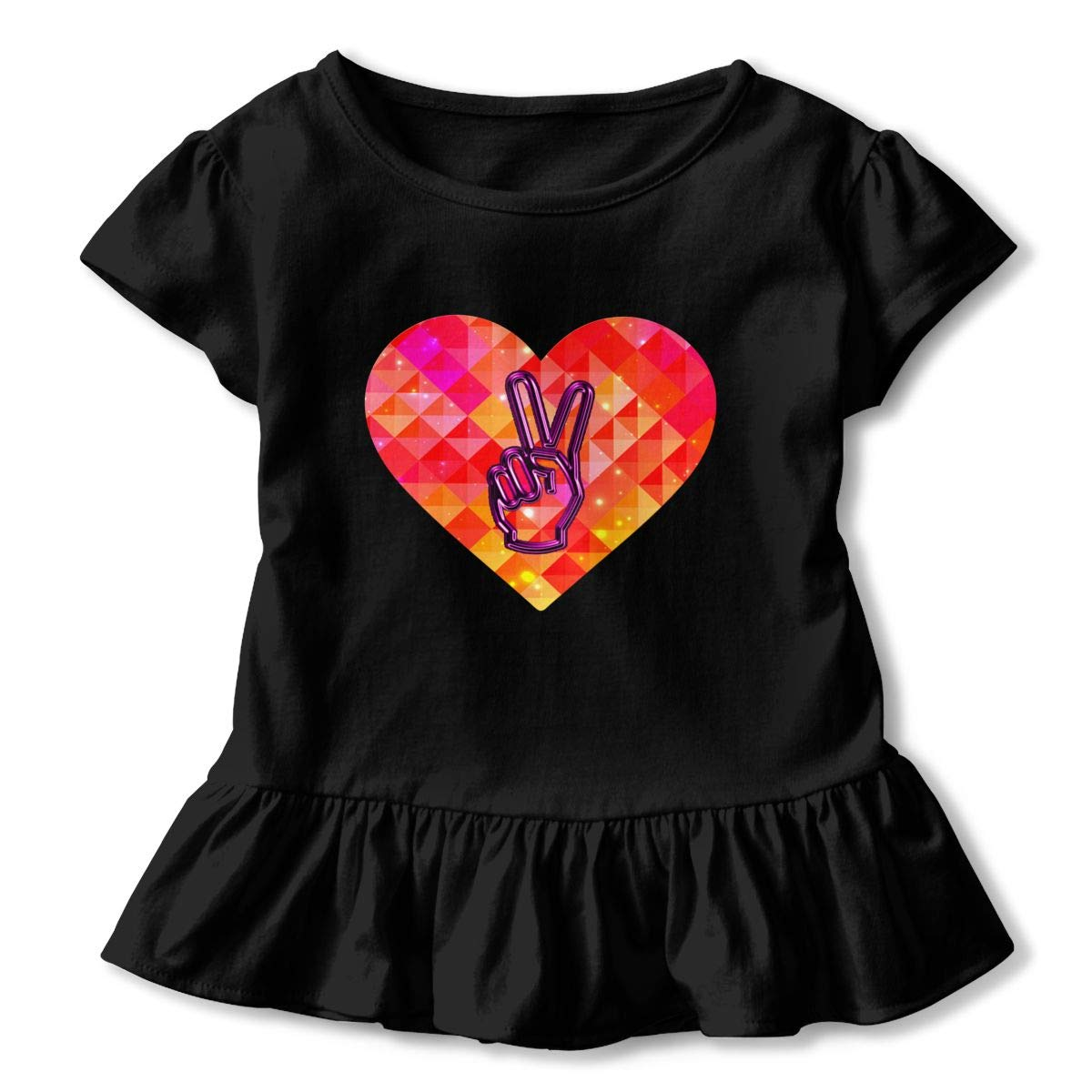 CZnuen Peace and Love Hand Peace Sign1 2-6T Baby Girls Cotton Jersey Short Sleeve Ruffle Tee