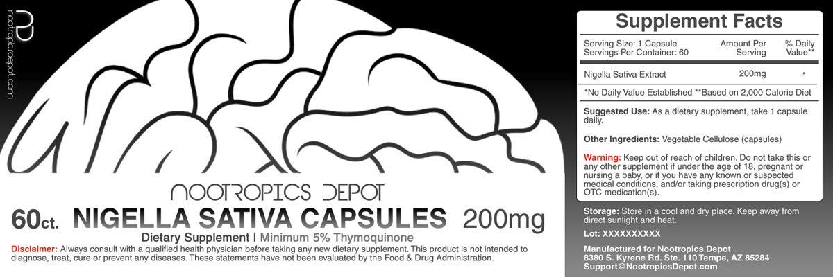 65352cf0 Amazon.com: Nigella Sativa Extract Capsules | 200mg | 60 Count | Minimum 5%  Thymoquinone Content | Black Seed Oil Extract | Supports Brain Health,  Memory, ...