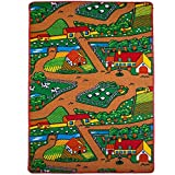 Mybecca Kids Rug Farm Area Rug 3' x 5' Children Area Rug for Playroom & Nursery - Non Skid Gel Backing 39'' x 58''