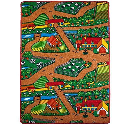 Mybecca Kids Rug Farm 2 Area Rug Area Rug 5' x 7' Children Area Rug for Playroom & Nursery - Non Skid Gel Backing (59