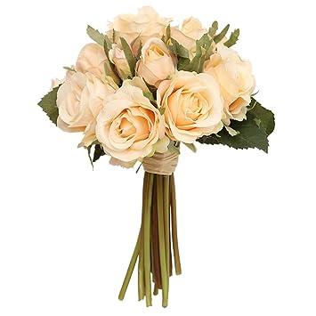 Ramo de rosas artificiales, Flor ramo de novia de seda de flores falsas -A: Amazon.es: Hogar