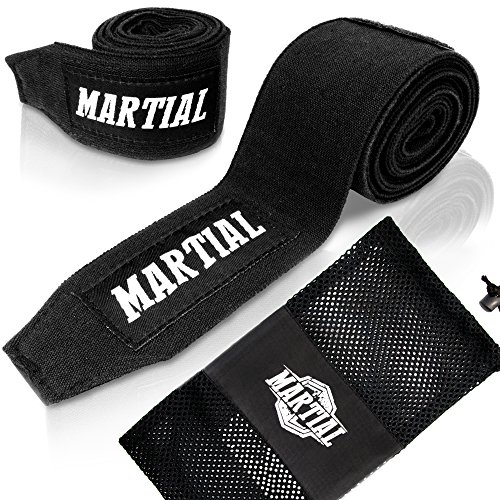 Martial Boxing Hand Wraps with Thumb Loop & Durable Velcro. Pair of Handwraps 120 or 180 inch! for Men & Women, German Design Perfected for MMA, Taekwondo & Muay Thai. Wrist Wraps with Bag!