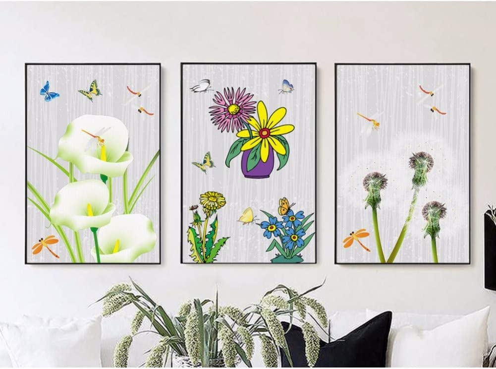 Rhbnvr Hd Printing Canvas Painting Simple Painted On Canvas Plants Butterfly Flowers 3 Pieces Canvas Painting Poster Prints Kitchen Decoration Amazon Co Uk Kitchen Home