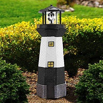 Solalite® - Faro tradicional alimentado por energía solar con luz LED para jardín, resina, Blanco, Solar Lighthouse: Amazon.es: Hogar
