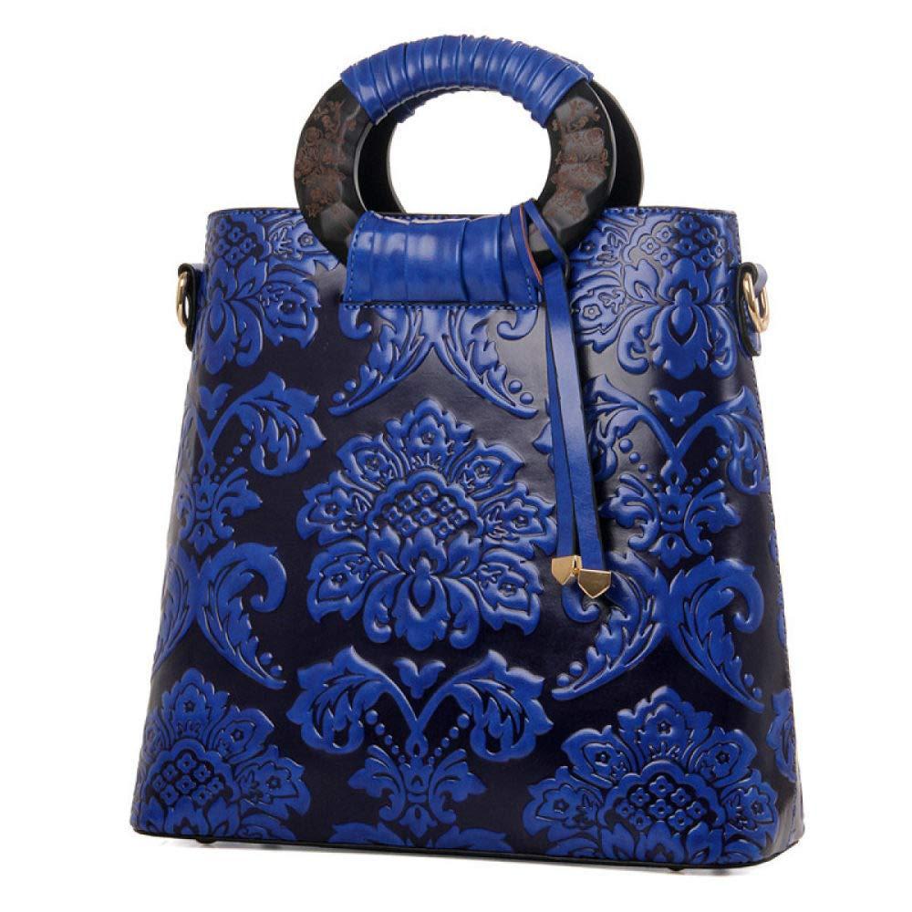 BAGBB Handtaschen Retro Geprägte Runde Holz Schulter Diagonale Trend Bag