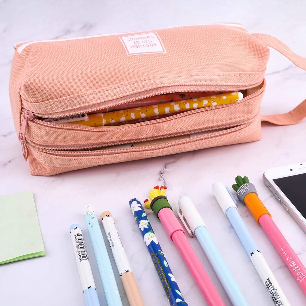 Rolin Roly Escolar Peque/ña Bolsa Para Lapices Estudiante Plumier Bolsa Dual Layer Pencil Case Yellow