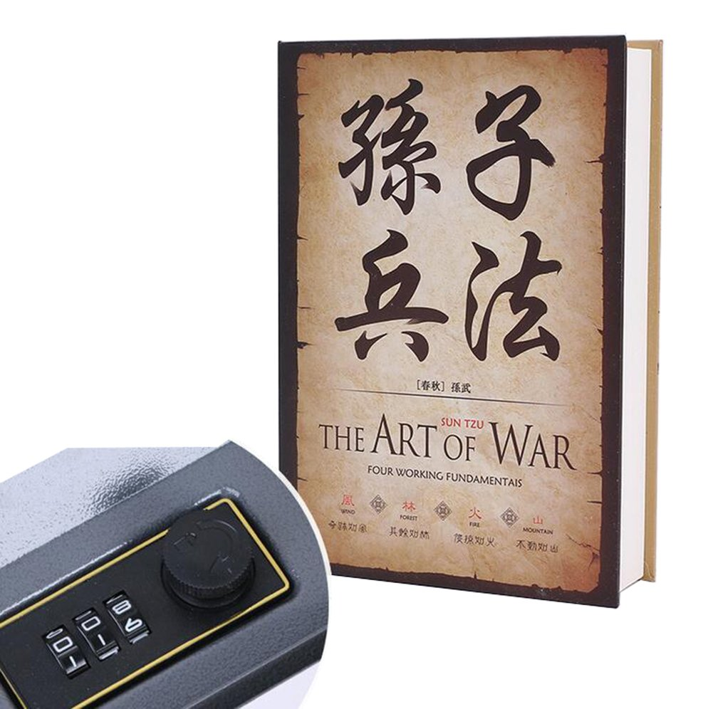 Diversion Book Safes Secret Money Hiding Box Book Collection Box with (Password or Key) Lock Anti-Theft Safes With Combination Lock(The Art of the War)