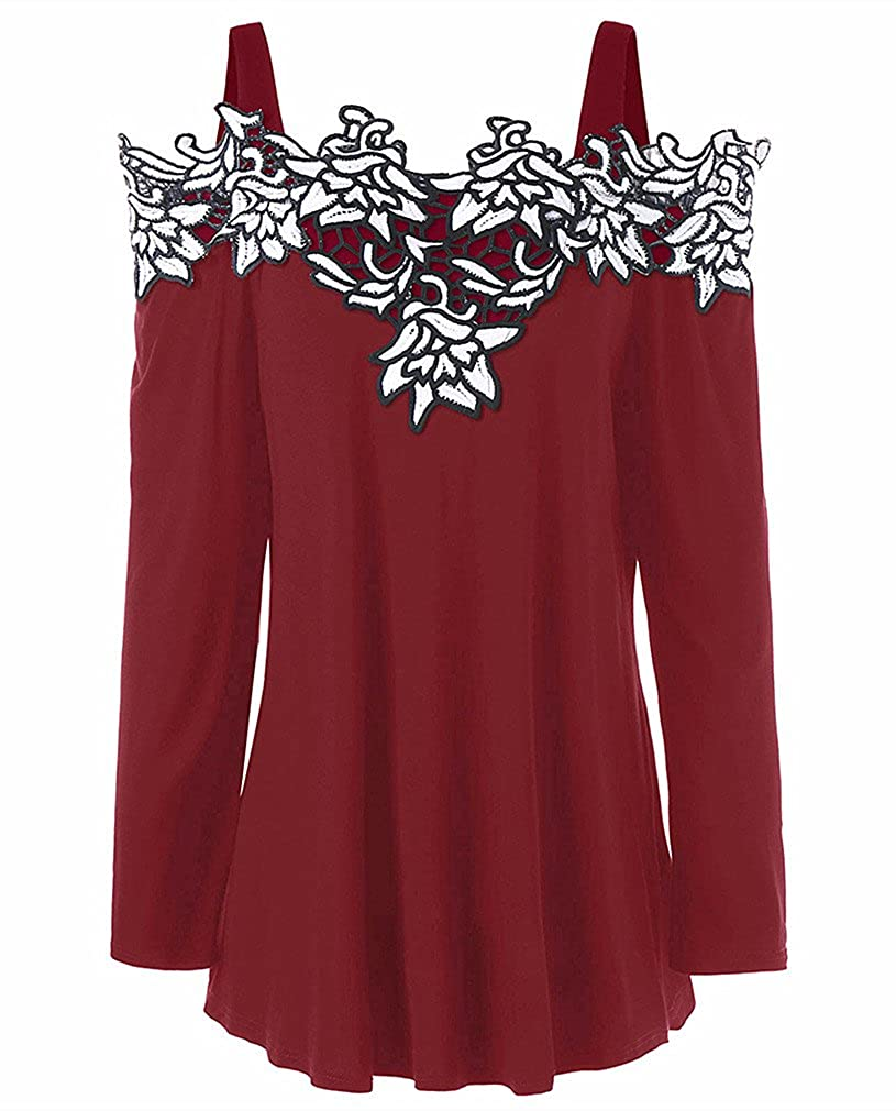Women's Plus Size Cold Shoulder Embroidered Floral Long Sleeve T-shirt Tops Tee