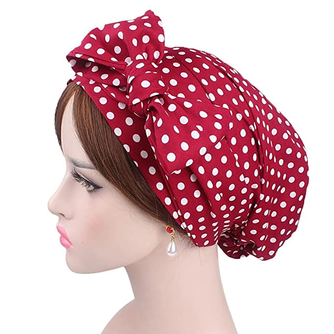 1940s Dresses and Clothing UK | 40s Shoes UK Womens Cotton Hat- Diadia Ladies India Muslim Stretch Retro Print Cotton Turban Hat Head Scarf Wrap Cap - Mothers Days Gifts for Mum (D) £2.19 AT vintagedancer.com