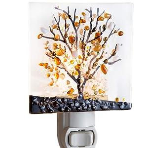 J Devlin NTL 159 Series Fused Stained Glass Tree Night Light (Brown)