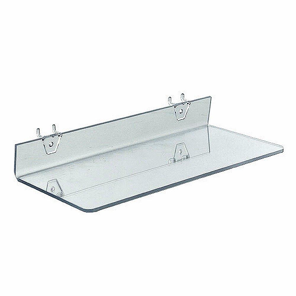 Azar Displays 556095 Clear Acrylic Shelf for Pegboard or Slatwall (4 Pack)