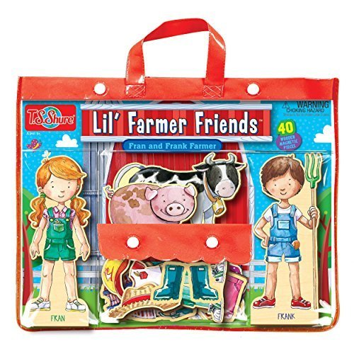 T.S. Shure Lil' Farmer Friends Fran & Frank Wooden Magnetic Dress-Up Playset, Model: 9816, Toys & Play