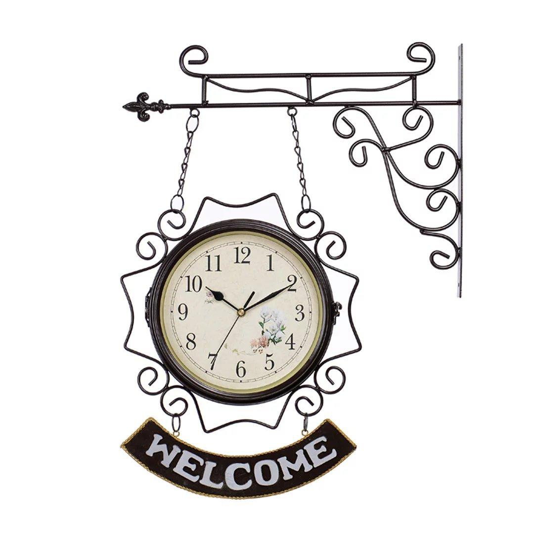 ウエルカム/WELCOME 地中海風 アイアン 両面 掛け時計 おしゃれ 掛時計 壁掛け シズネ インテリア 時計 EBODONG B07C5N6VQQ タイプ1 タイプ1