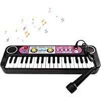 TWFRIC Piano per Bambini, Tastiera Giocattolo Portatile con 37 Tasti Pianoforte Multifunzione, Pianoforte Elettronico con Microfono, Musicale Pianoforte Piano Educativo Giocattolo per Bambini, Nero