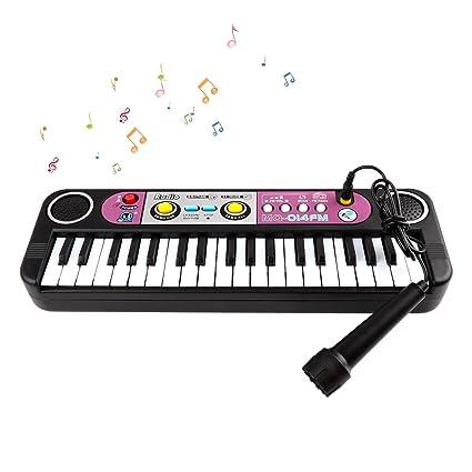 Teclado Electrónico Infantil, 37 Teclas Piano Teclado Juguete con Micrófono, Variedad Sonidos Karaoke Rítmos