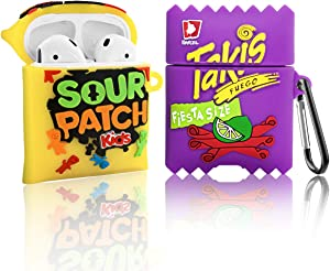 2 Pack Candy Kids+Takis Potato Chips Airpods 2/1 Case,Food Cute 3D Cartoon Funny for Girls Boys Kids Women Teens,Protect Silicone Skin for AirPods Case Drink Accessories with Keychain