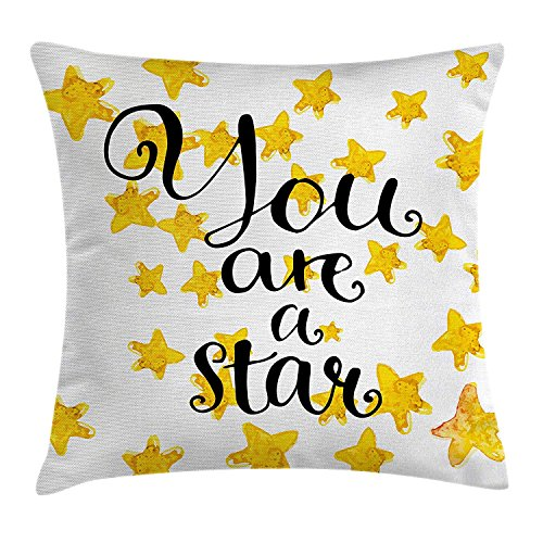 Anzona Lifestyle Decor Throw Pillow Cushion Cover,Square 16x16inch Two Sides, Motivational You are a Star Phrase Encouragement Good Words Design,Pillow Sham Cases for Couch Sofa Chair Cushion