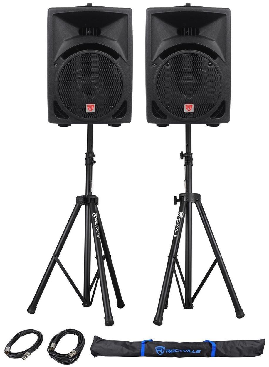 Pair Rockville Power Gig RPG8 8'' Powered Active 800 Watt 2-Way DJ PA Speakers