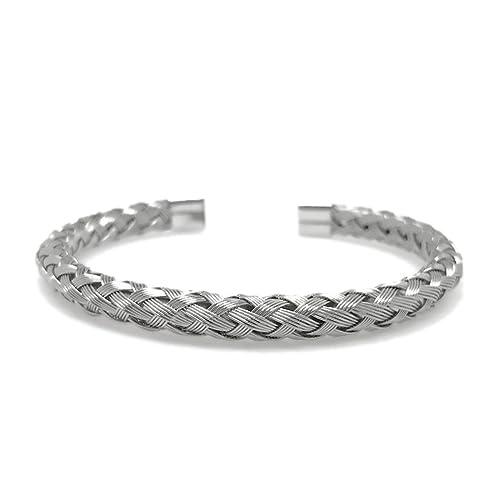 Amazon.com: Plata de acero inoxidable pulsera de alambre ...