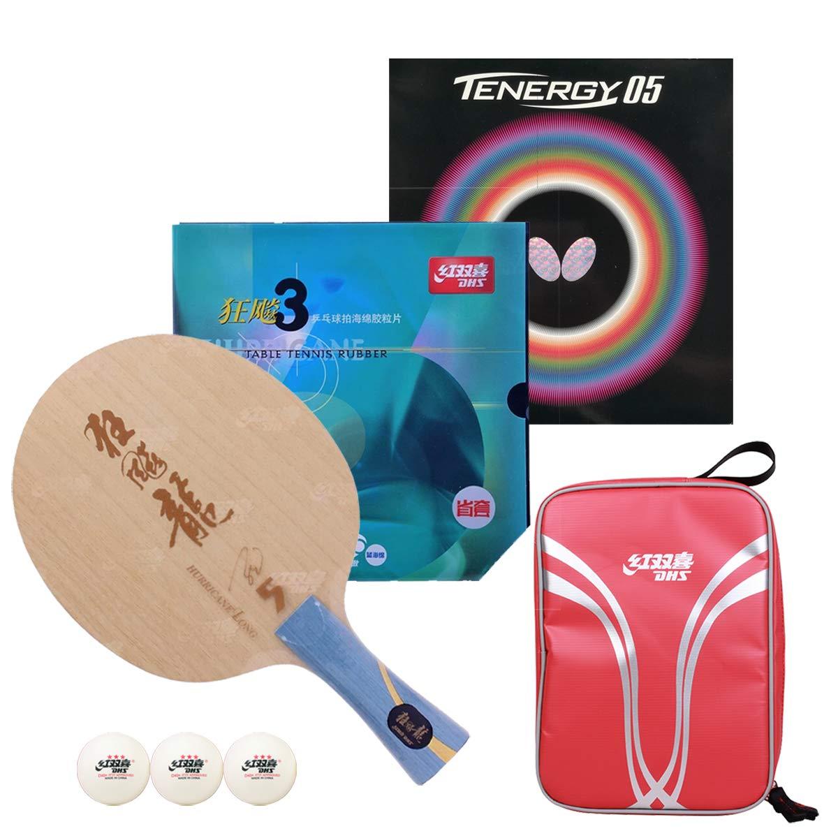 DHS Handwork プロフェッショナル 卓球ラケット - パドルテーブルテニスラケット + バタフライピンゴム 卓球用バッグ   B07H1D8TJV