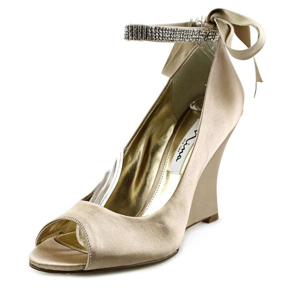 Nina Womens Emma Open Toe Ankle Wrap Wedge Pumps B00MOJHM9W 7 B(M) US|Champagne Crystal Satin