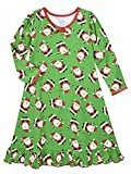 Sara's Prints Girls' Little Whirl and Twirl Long Sleeve Nightgown, Hooray Santa - HYS, 6