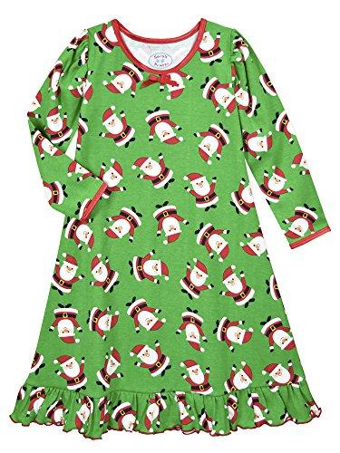 Sara's Prints Girls' Little Whirl and Twirl Long Sleeve Nightgown, Hooray Santa-HYS, -