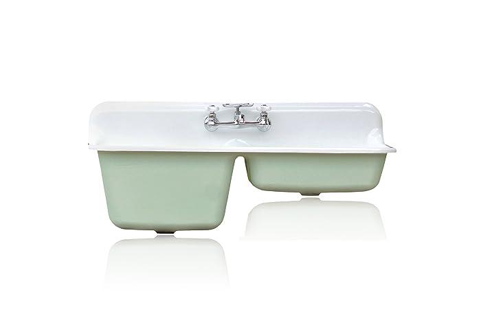 47u0026quot; Double Basin Mint Green Farm Sink Cast Iron Deep Kitchen Sink  Package