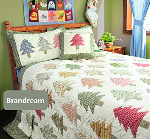 Brandream Kids Christmas Bedding Christmas Tree Bed Set Patchwork Quilts Twin Queen Size
