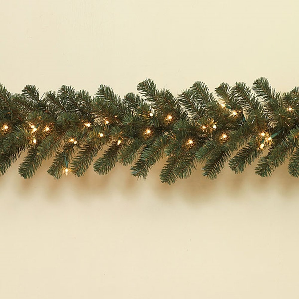 LARGE Pre-lit Balsam Pine Garland ~ 108'' x 12'' ~ 200 Tips ~ 100 White Lights ~ not Battery Operated