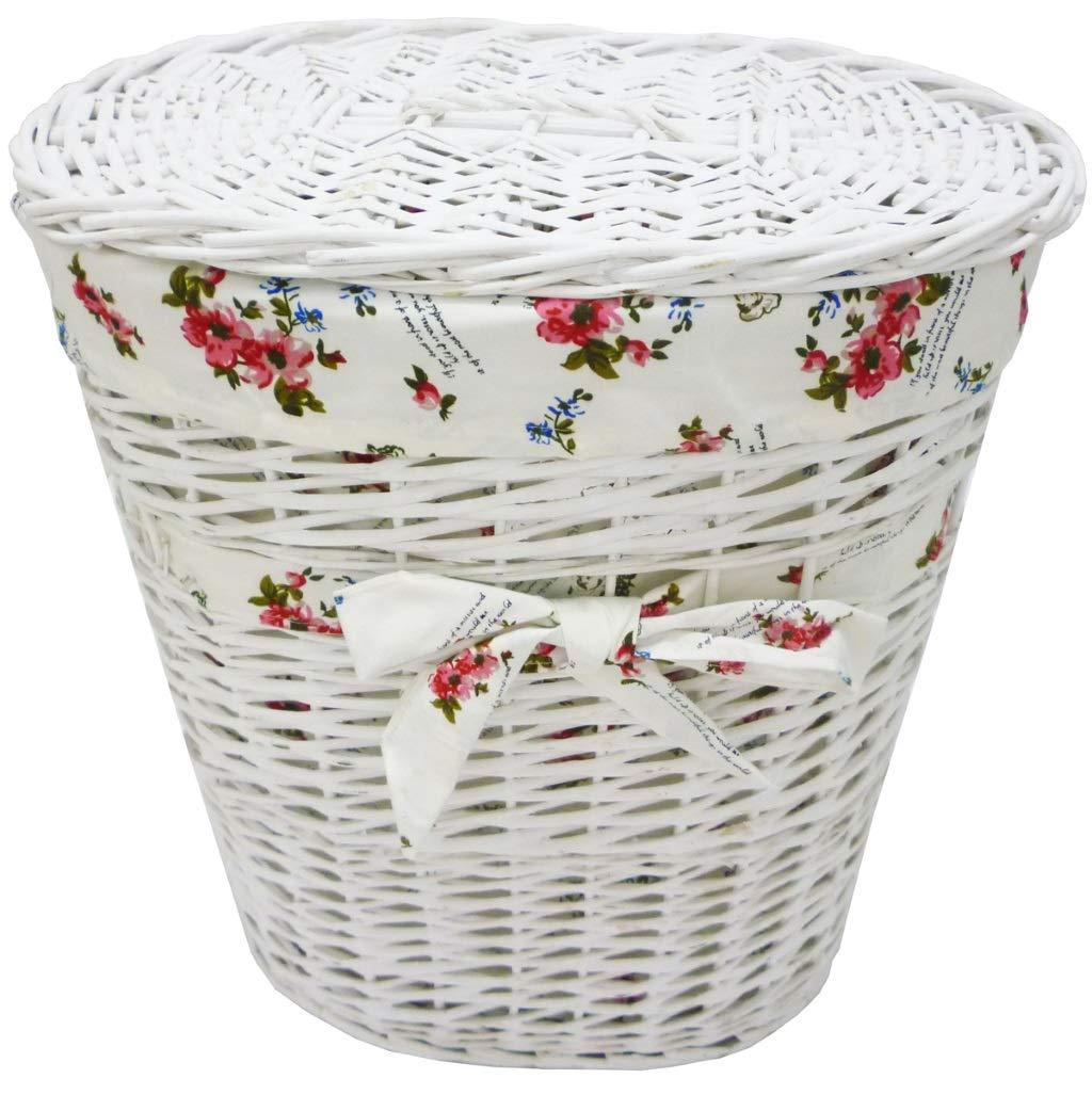 Portabiancheria baule cesto contenitore in vimini e rattan bianco 36x25h38 foderato con decoro fiori e coperchio scatola porta tutto giochi vestiti per casa camera salotto Savino Fiorenzo