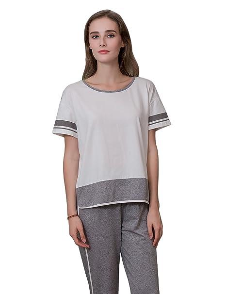 QianXiu Mujer Conjunto de pijama Ropa de dormir Algodón Pijamas Ropa para el hogar