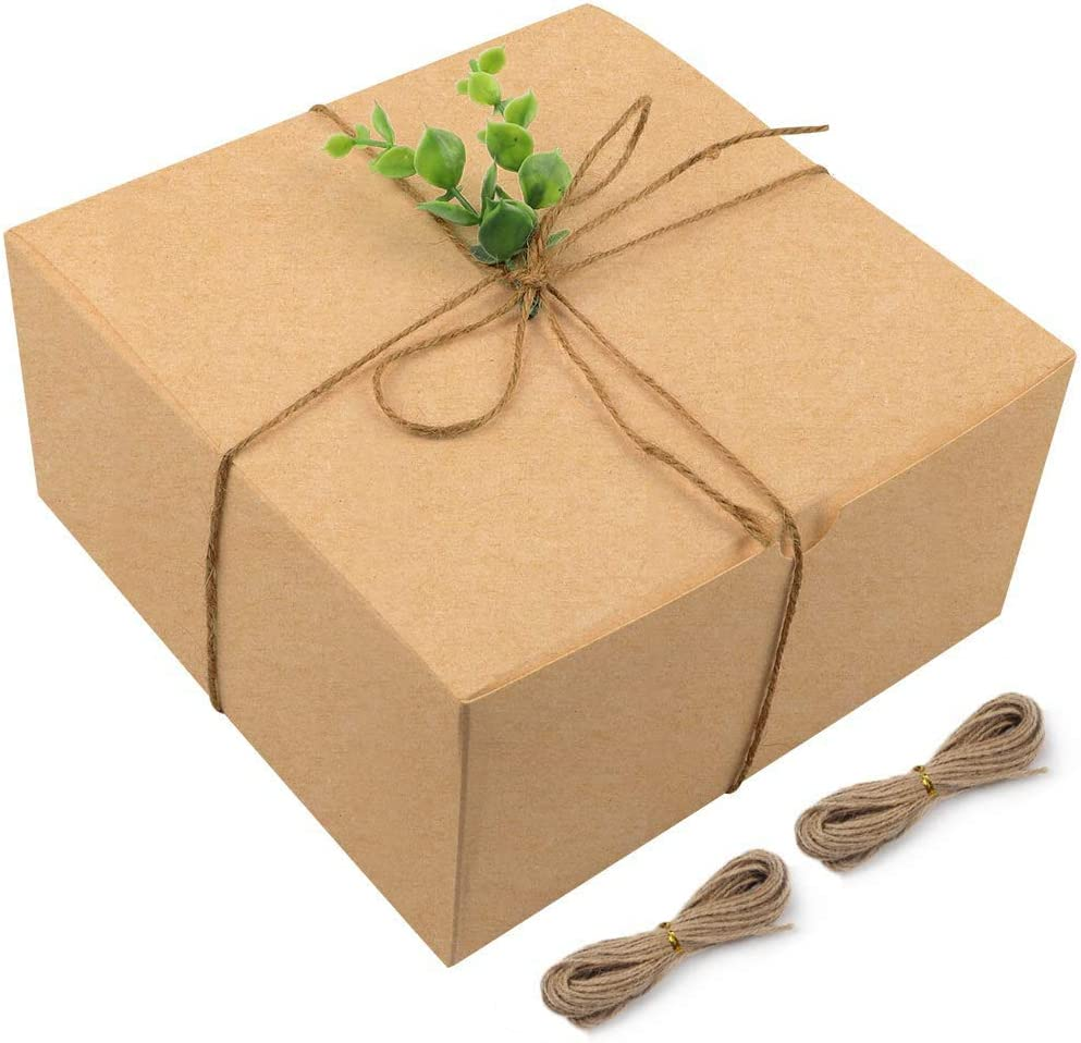 Moretoes Brown Gift Boxes Kraft Boxes 15pcs 8x8x4 Inches Bridesmaid Proposal Boxes with Lids for Gifts, Cupcake Boxes, Crafting