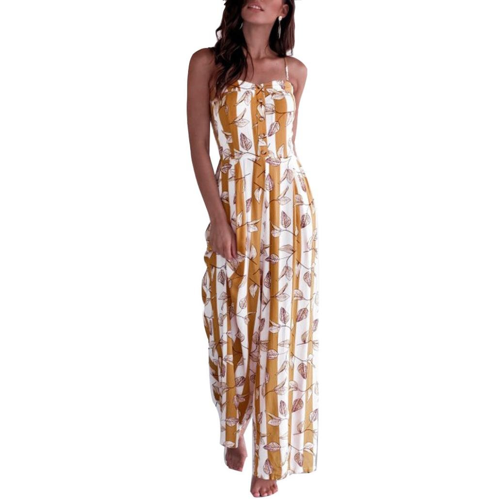 vermers Clearance Women Clubwear Jumpsuit Summer Sleeveless Striped Printed Casual Wide Leg Pants Outfit Romper(S, Yellow)