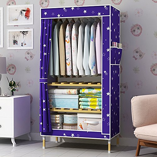 HHAiNi Wood Portable Single Wardrobe, Clothes Closet Bedroom Armoire Storage Organizer with Doors by HHAiNi