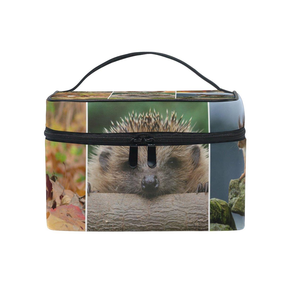 Tizorax Collage /écureuils et les h/érissons Grand sac Cosm/étique de voyage Organiseur de maquillage Coque support pour femme Filles