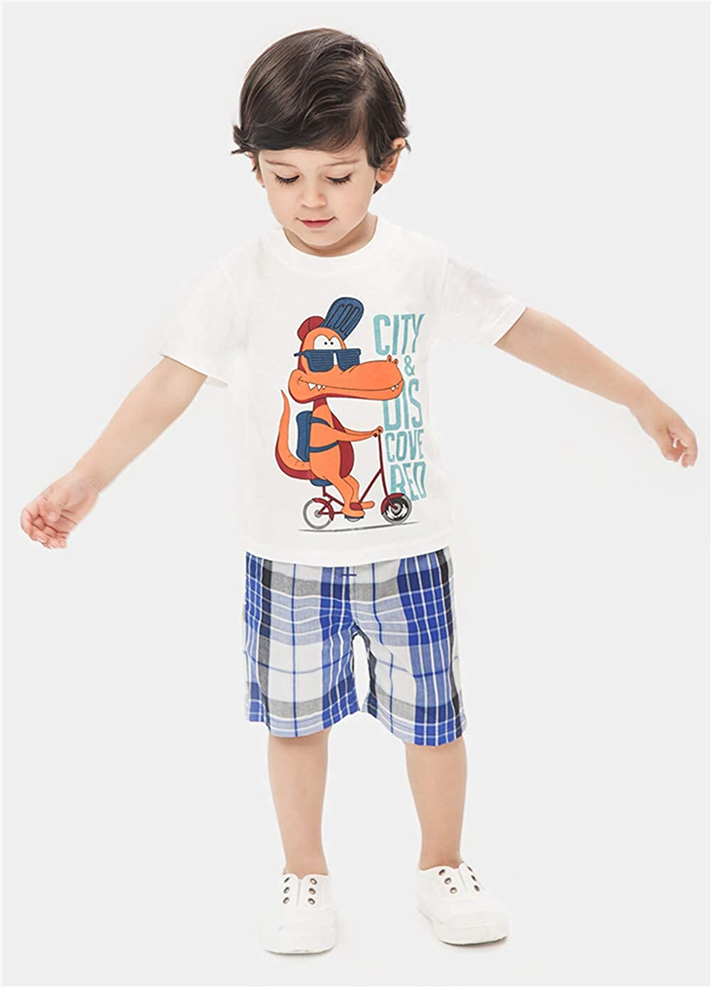 LittleSpring Boy Outfits Fun Short Sleeve T-Shirt and Shorts Set for Summer