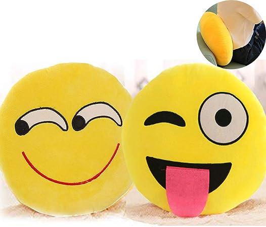 Mengger Emoji Kissen,Knallig Gelb Rund Weiches Plüsch